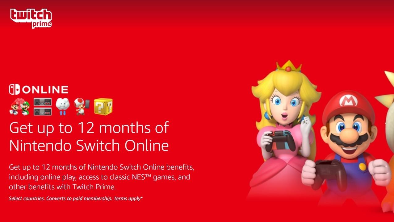 Twitch Prime: ora possibile riscattare i 9 mesi rimanenti di Nintendo Switch Online